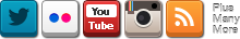 Twitter, Flickr, YouTube, Instagram, RSS, plus many more
