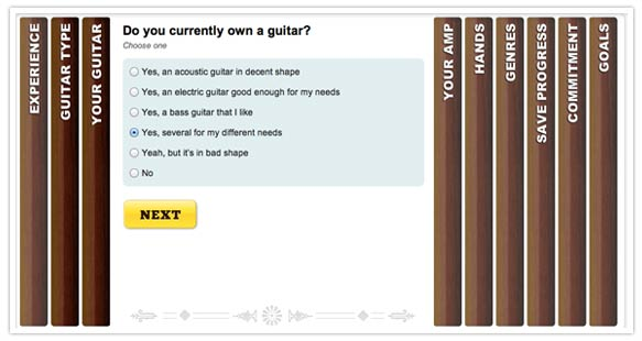 90 Day Guitar Quiz uses SlideDeck to guide users through a simple quiz