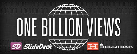 SlideDeck & Hellobar have reached a billion views!