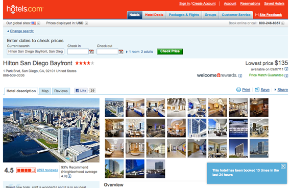 Hotels.com shows social proof to build customers' confidence