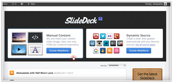 SlideDeck Manage screen