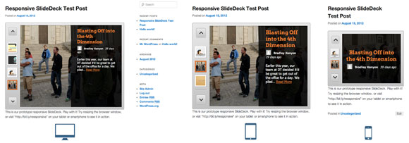 The three stages of a responsive SlideDeck