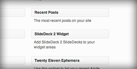 Drag over the SlideDeck 2 Widget to the Active Widgets area