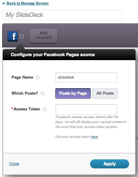 Facebook Page Content Source for SlideDeck