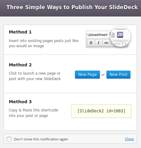 Publishing content on SlideDeck