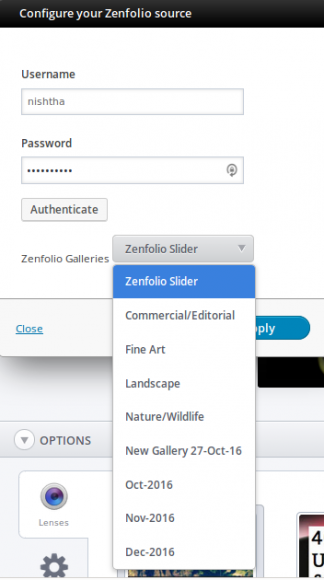 Zenfolio - Source configuration