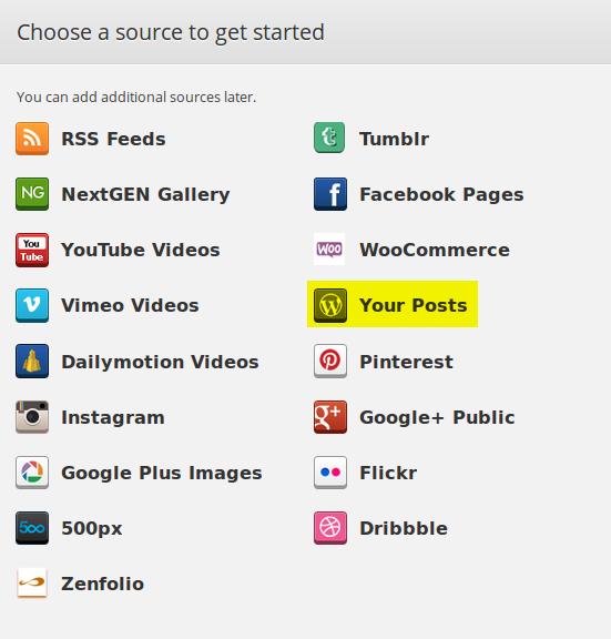 Choose content source - WordPress