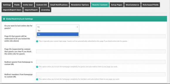 WordPress content restriction