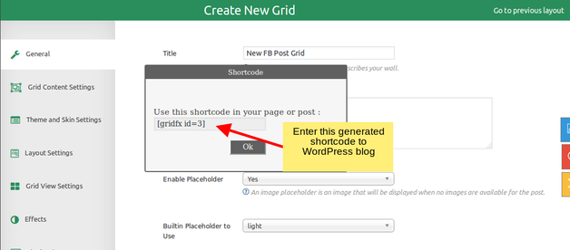Shortcode generator - GridFX