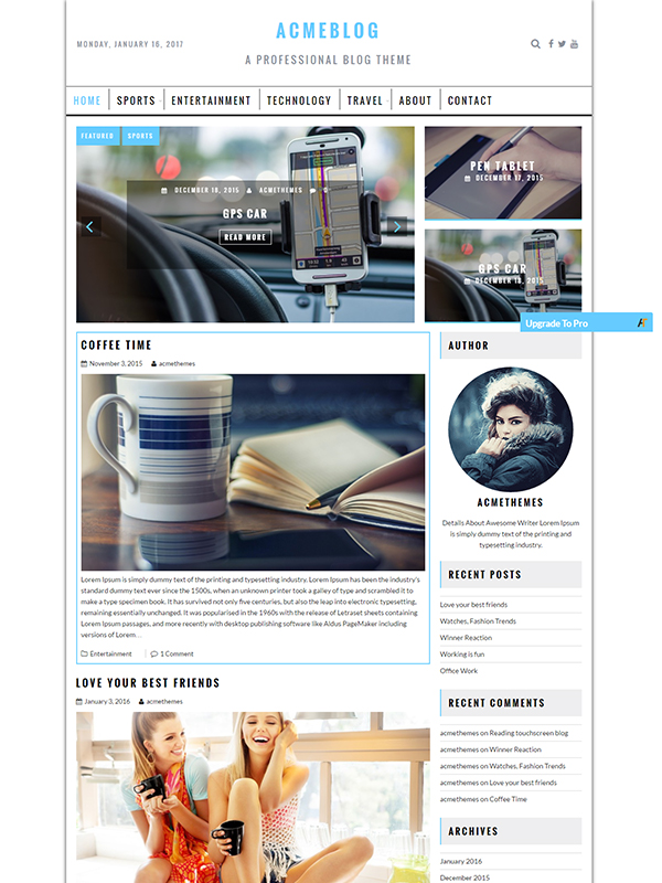 Acme Blog Pro – The Professional Blog Theme
