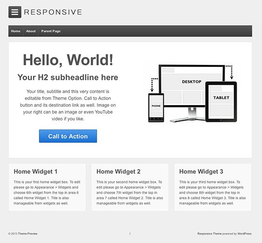 Responsive - Free WordPress theme with responsive image slider