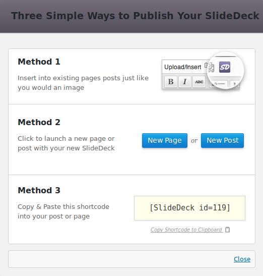 Publish methods - SlideDeck